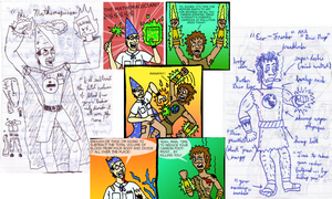 Mathemagician and Eco-Freako -- sketch to comic by Rennon-the-Shaved