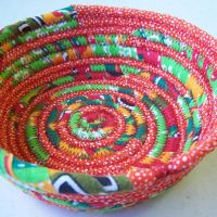 Green and Orange Basket Bowl by mamacateyes