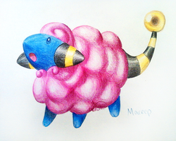 Shiny Mareep by CheezieSpaz