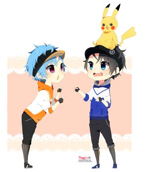Armin and Alexy Pokemon Go / Amour Sucre Chibi by Nyugu