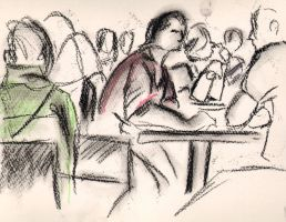 Cafe drawings 2 by Adele-Waldrom