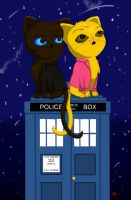 9th Doctor and Rose Cats by ViciousCritter