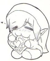Chibi Link Eating Hearts by WorldofInspiration