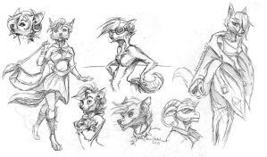 anthro sketches by IamSKETCHcat