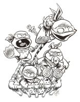 Toddler Mutant Ninja Turtles by artistjerrybennett