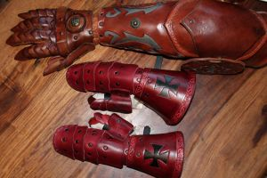 Child leather gauntlets by AtelierFantastique