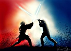 Battle of the Heroes [SW III: Revenge of the Sith] by geekyglassesartist
