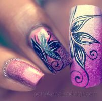 Nail art on A-England Briar Rose by NatsukoNails