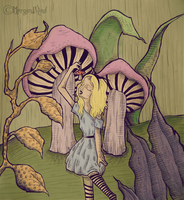 Alice and Mushrooms by MorganBlindness