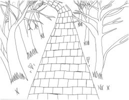 Shifters Momentia Forest Path Background2 (Sketch) by SamuXchan