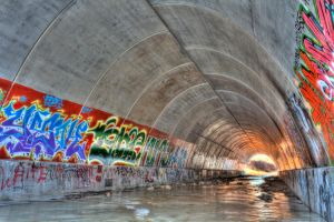 Graffiti in a Tunnel 01 by Jade-Ember