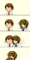 Glomped by Haruhi by ctkitty