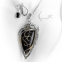 DARGHNAR - silver, 18 Ct yellow gold, obsidian by LUNARIEEN