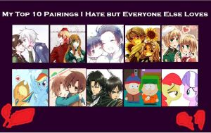 My top 10 couples i hate but everyone loves by sunflower-sama