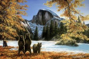hald dome and the three bears by LowellSSmithART