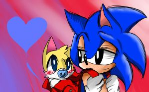 Kid Sonic and baby Tails by NyaOni