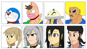 Smash Bros Anime Crossover Character Portraits by Karasu-96