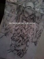 Religious sleeve tattoo design by tattoosuzette