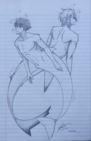 Mermen Sketch by Fayolinn