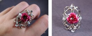 Filigree ring Pink rose 2 by AngelElementsEtsy