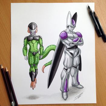 Frieza and Cell Pencil Drawing by AtomiccircuS