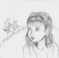 Alice and the rabbit by X3carlyX3