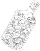 Sailor Senshis in a Bottle by YamPuff