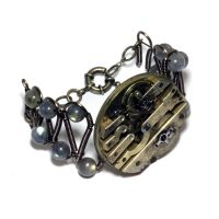 Steampunk Bracelet - Watch Movement - Labradorite by CatherinetteRings