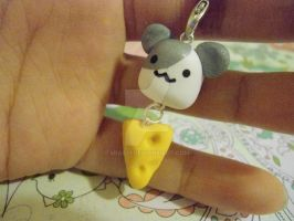 Kawaii Mouse with Cheese Cell phone charm by mia831