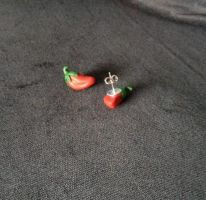 Chili paprika earrings by Xx-tangerine-xX
