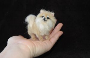 Tiny Pomeranian Puppy Needle Felted by amber-rose-creations