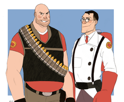 Heavy und Medic by muffinpoodle