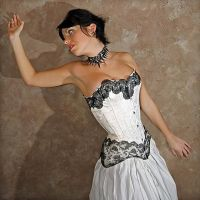 grey brocade overbust corset by AtelierSylpheCorsets
