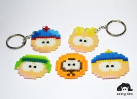 South Park perler Hama Beads 8bit Keychains by zestyden