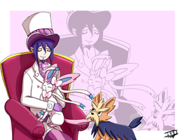 BlueExorcist-PKMN- Mephisto and Sylveon (+Herdier)