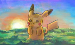 Pikachu Sunset by Debra-Marie