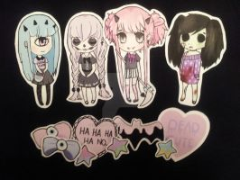 Pastel Monsters Stickers by QueenJellybeany
