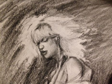 Courtney Love Sketch Face Detail by PaintedLiLy