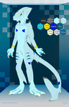 Sharkalino v2 charsheet | frontal view by G3Drakoheart-Arts