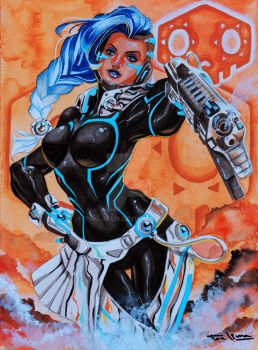 Sombra (Cyberspace skin) - Overwatch (Commission) by TonLima19