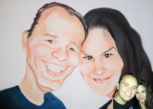 Couple caricature by byztro