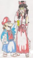 Edo Mario and Reimu by TheGloriesBigJ