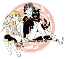 Inktober - Modern Hiccup and Astrid by MondoArt