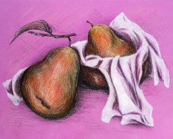 Pears on the pink by LasmejaLora