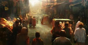 New Delhi city streets, circa 1859 by michaeldaviniart
