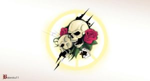 Skulls with roses(colour) by babeskull16