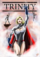 Trinity - Powergirl, Captain Atom, Atlee by adamantis