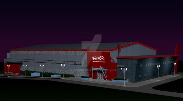 A night view model of LUMI sports centre by WooHooGirl