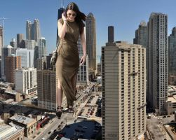 Giantess Kendall Jenner in Chicago by lowerrider