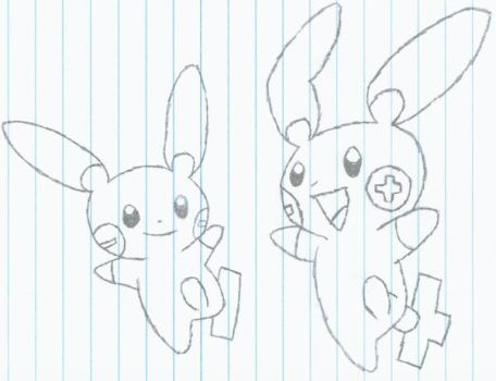 Plusle and Minun by revolutionX1600